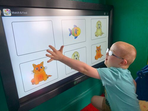 Boy using Match & Find on an Alpha Interactive touch screen