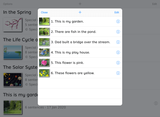 Special Sentences - list of sentences in topic iOS