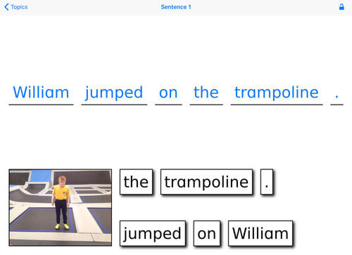 "Special Sentences ""William jumped on the trampoline."""