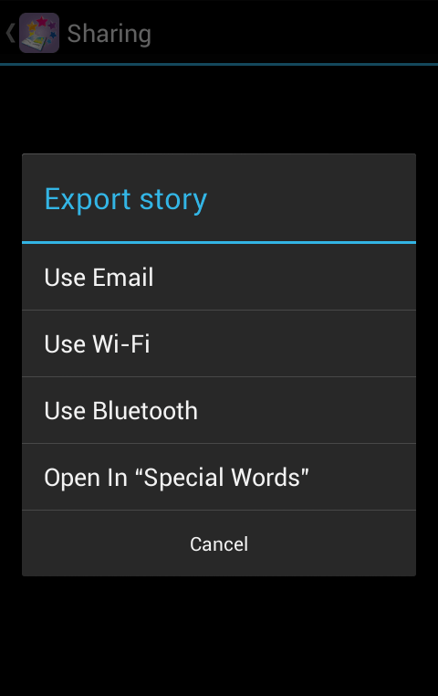 Special Stories - export options Android