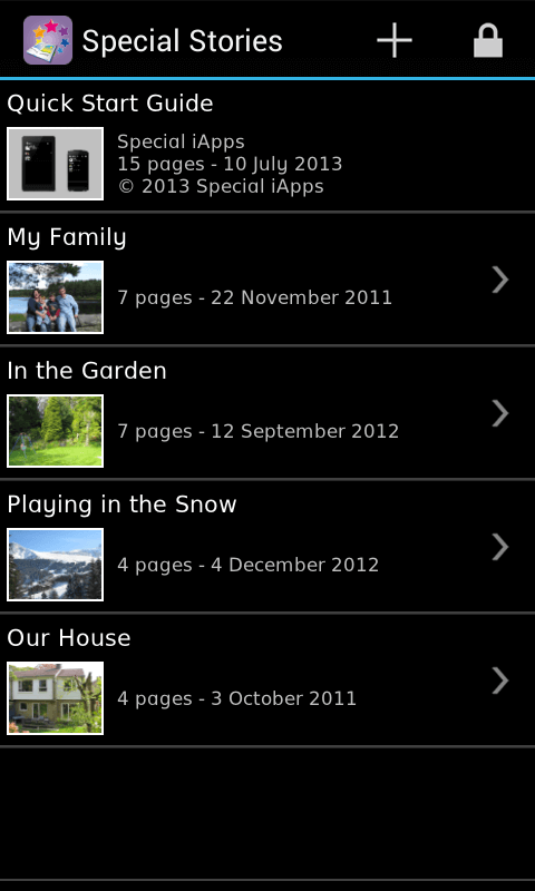 Special Stories - main view Android