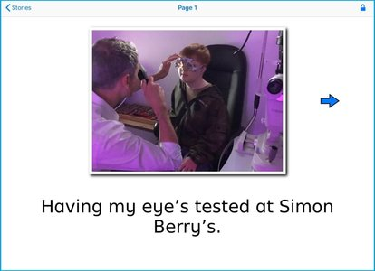 William having an eye test with Simon Berry, captured as a story in Special Stories