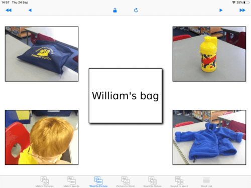 Example of Special Words Plus - Word to Picture activity with personalise photos
