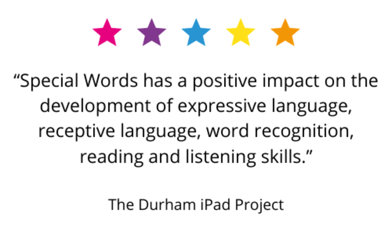 """""""Special Words has a positive impact on the development of expressive language, receptive language, word recognition, reading and listening skills."""" The Durham iPad Project."""